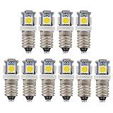 GutReise 10 X Bombillas LED E10 24V luz blanca cálida, 5 SMD, 50LM Montaje de tornillo Lámparas de prueba blub