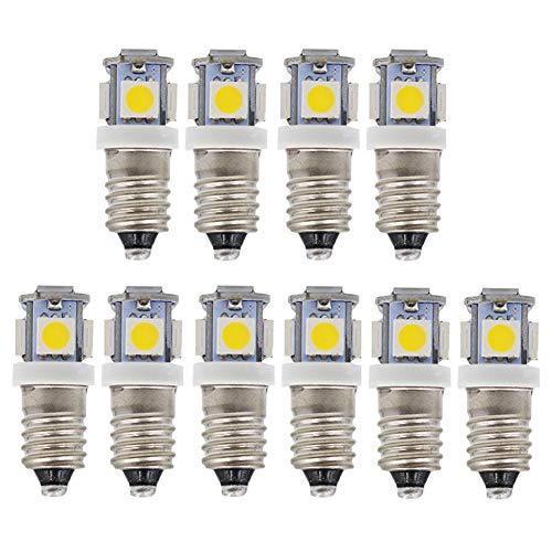 GutReise 10 X Bombillas LED E10 6V luz blanca cálida, 5 SMD, 50LM Montaje de tornillo Lámparas de prueba blub