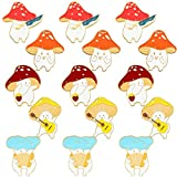 WILLBOND 15 Pieces Mushroom Enamel Lapel Brooches Pins Cute Cartoon Mushroom Shaped Brooch Badge Pin for DIY Backpack Clothes Hat Decorations