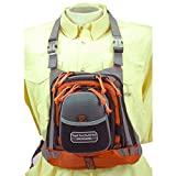 """TFO 255MCP Med Size Chest Pack with Front Drop Pocket 13"""" x 1"""" Grey, Grey/Orange"""