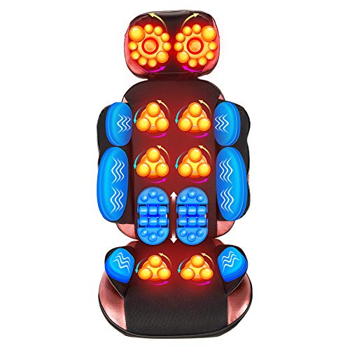 CO-Z 60W Massage Chair Cushion with 20 Nodes for Men and Women | Shiatsu Kneading Heating Vibrating Massage Pad with Remote for Neck Back Shoulder and More, Ideal for Office Chair and Sofa