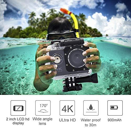 Yencoly WiFi Waterproof Camera,F60 2 Inch Screen 140° Wide Angle HD 4K 30FPS WiFi Waterproof Action Sports Camera Kit Sport Action Camera