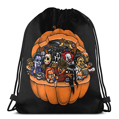 QiangQ Kordelzugbeutel Drawstring Bags Sport Gym Sack Party Favor Bags Wrapping Gift Bag Drawstring Backpack Storage Goodie Bags Cinch Bag - Halloween Horror Night