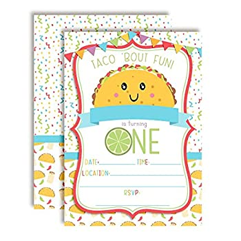 Taco  Bout Fun Taco Themed First Birthday Fiesta Party Invitations 20 5 x7  Fill In Cards with Twenty White Envelopes by AmandaCreation