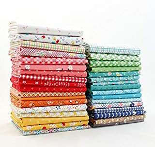 Riley Blake Farm Girl Vintage Fat Quarter Bundle (33 pcs) by Lori Holt 18 x 21 inches (45.72cm x 53.34cm) Fabric cuts DIY Quilt Fabric