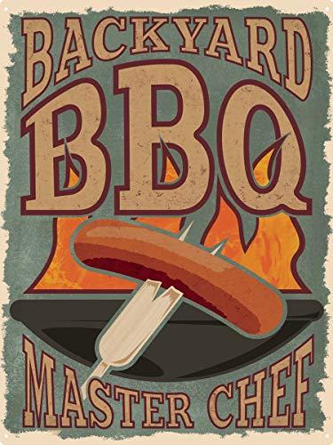 PJ4u Retro Tin Sign 30,5 x 40,7 cm Back Yard BBQ MasterChef Man Cave Capanno