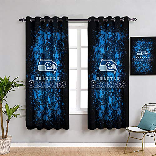 Elxmzwlob Blackout Curtains for Bedroom American Tootball Team Se-Attle Seah-awks Treatment Curtains Window Curtain Drape, W54 x L72, 2 Panels