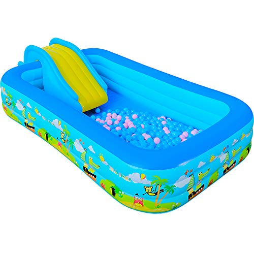 CBA BING Aufblasbarer Pools Mit Pumpe Und Leiter Rechteckige Swimmingpools Planschbecke Erwachsene Für Kinder Und Erwachsene Blau,102x69x25.5in