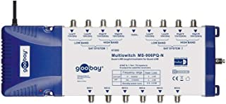 Goobay 67265 SAT Multischalter 9 Eingänge / 6 Ausgänge, Verteiler für max. 6 Teilnehmer von zwei Satelliten