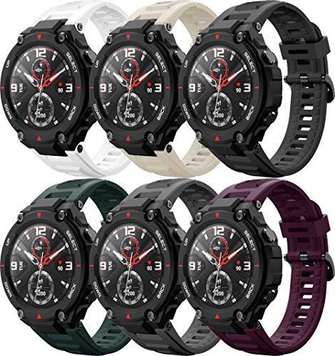 Simpleas Correa de Reloj Recambios Correa Relojes Caucho Compatible con Amazfit T-Rex - Silicona Correa Reloj con Hebilla (6PCS A)