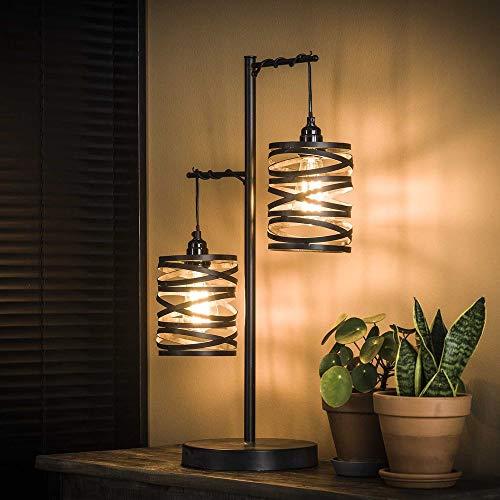 famlights Tischleuchte Dalia aus Metall in Silber, 2x E27, Industrie Design   Industrial Tischlampe für Wohnzimmer, Schlafzimmer   Designerleuchte Standleuchte Nachttischlampe   Vintage Stehleuchte