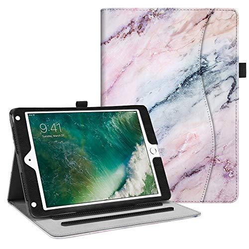 Fintie iPad 9.7 2018 2017 / iPad Air 2 / iPad Air Case - [Corner Protection] Multi-Angle Viewing Folio Cover w/Pocket, Auto Wake/Sleep for Apple iPad 6th / 5th Gen, iPad Air 1/2, Marble Pink