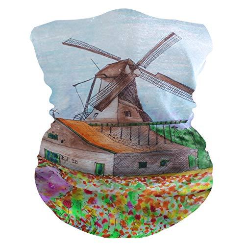 LORONA Molen Nederland Tulpen Zon UV Bescherming Hals Gaiter Magic Face Cover Sjaal voor Masker Stof Wind Bandana Balaclava Hoofddeksels