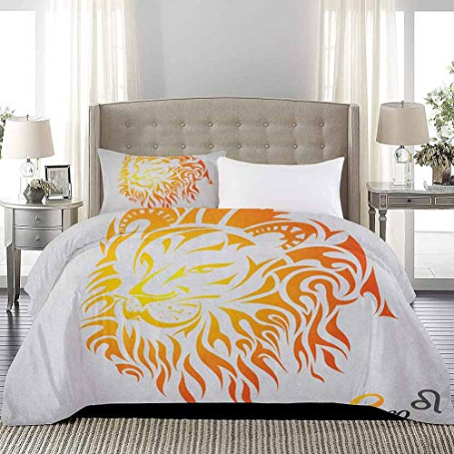 UNOSEKS LANZON Juego de colcha de Leo Zodiac Sign on Plain Background Sun Mystic Lion King Self Power Universo Funda de edredon de unas de gato no se enganchan naranja, tamano completo