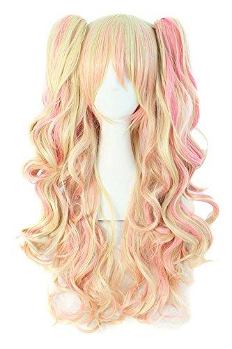 MapofBeauty farbige Lolita lange lockige geheftet auf Pferdeschwanz Cosplay Perücke (blond/rosa)