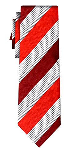 Cravate soie rayée wide stripe burg red white