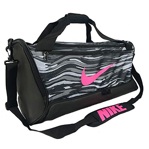 Nike Brasilia 9.0 Medium Training Duffel Bag, Black/White/Pink, Medium