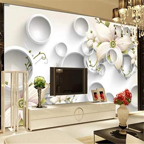 Fotobehang, personaliseerbaar, 3D, fotobehang, woonkamer, sofa, tv, canvas, eenvoudige motieven, 3D-cirkel afbeelding, behang, decoratie thuis 400cm*280cm