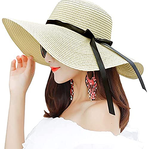 Women's Wide Brim hat Sun Protection Straw Hat Floppy Foldable roll up hat Summer UV Protec…
