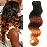 Tissage Bresilien Meches Bresiliennes Cheveux Naturel Dégradé - Extensions Cheveux - Grade 7A Brazilian Virgin Remy Hair Ombre (#1B Noir Naturel+#33 Auburn+ #27 Blond foncé) - 16'