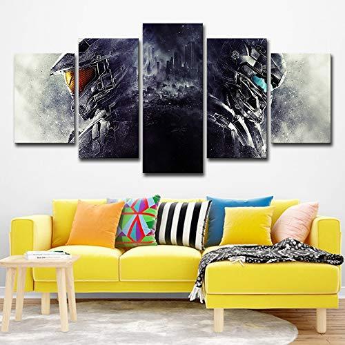 AMOHart Leinwanddrucke 5 Stück Moderne Film Halo Poster Wandkunst Wohnzimmer Schlafzimmer dekorative Kunstwerke Drucke auf Leinwand Rahmen