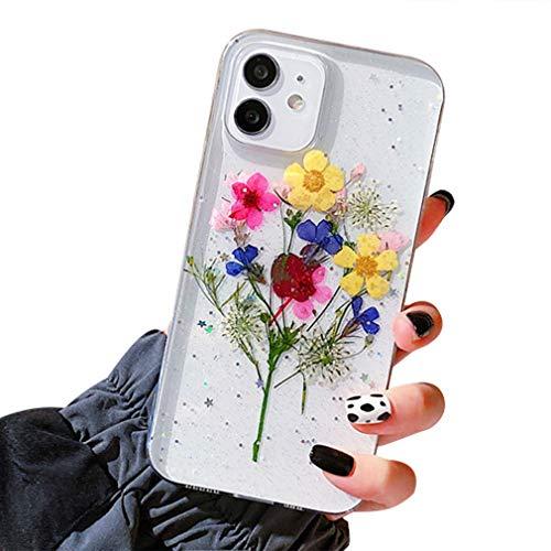 Tybiky Funda para iPhone 12 Pro, diseño de flores reales, transparente, funda protectora de cristal hecha a mano, diseño de flores eternas para iPhone 12 Pro/12, 1 amarillo y azul con flores rosas