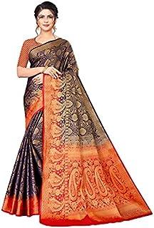 Neerav Exports Banarasi Silk With Weaving Zari Butta Saree (Blue)