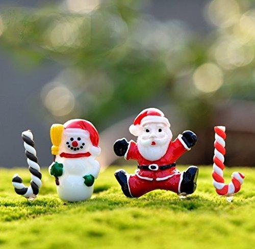 Urgrace 50 pezzi / set di resina mini pupazzo di neve bambola artigianale decorazione giardino micro paesaggio decorazione bonsai fai da te regalo di Natale giocattolo
