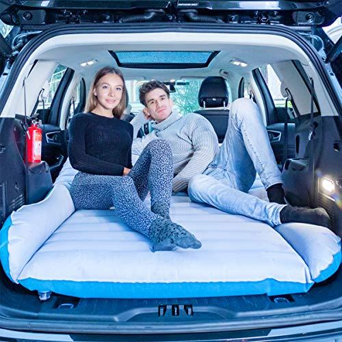 QISE SUV Auto Luftmatratze,Auto matratze Doppelseitige Beflockung luftmatratze Auto rücksitz mit Pumpe für Auto Matratze Aufblasbares Bett Air Bett für Reisen, Camping