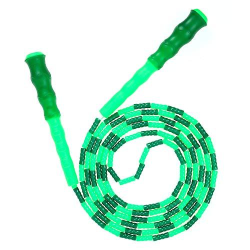 縄跳び ビーズロープ 子供用 大人用 学校用 なわとび フィットネストレーニング用 ジャンプ べる ロープの 長さ調節可能 筋トレ 消費カロリー 有酸素運動 初心者向けジャンプロープ-グリーン