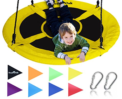 Royal Oak Saucer Tree Swing,Giant 40 Inches with Carabiners and Flags, 700 lb Weight Capacity, Steel Frame, Waterproof, Easy to Install with Step by Step Instructions, Non-Stop Fun! (Yellow)
