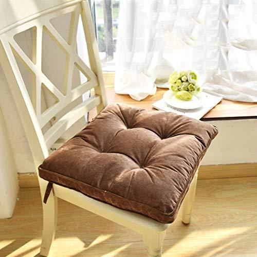Tatami - Cojín de asiento grueso suave con lazos removibles para silla de oficina o comedor, 43 x 43 x 8 cm, tamaño: 43 x 43 x 8 cm, color: vino tinto