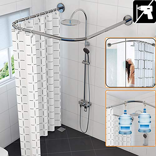 HKNC Shower Curtain Rod Extendable Curved Corner Bath Curtain Rail Bar U Shaped No Drilling Adjustable 304 Stainless Steel Bathroom Tub Pole Decorative,80 to 1209080 to 120cm