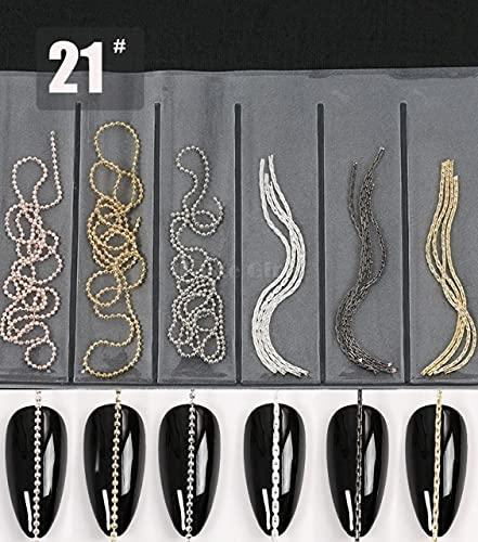 MALAT Cadena de Garra de Perlas, Cadenas de uñas de Metal, Hebilla de Anillo, aleación 3D, decoración de Diamantes de imitación, diseño de manicura, DIY-X21