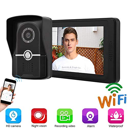 Video deurtelefoon deurbel, 7-inch LCD-kabel App Remote Intercom deurbel Viewer Unlock Entry Access System Kit voor Home Villa Apartments (EU)