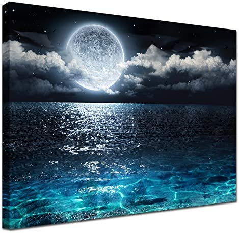 Blue Moon Wall Decor Painting Modern Ocean Landscape Picture Canvas art decoration Print Poster product image