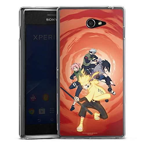 DeinDesign Silikon Hülle kompatibel mit Sony Xperia M2 Aqua Hülle transparent Handyhülle Naruto Shippuden Sasuke Sakura