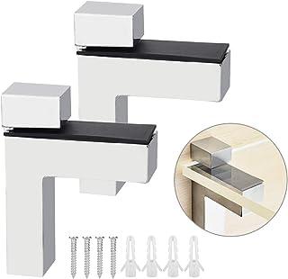 BUZIFU Soporte para Estanterías de Cristal, 2 unids Soportes Estanterías Pared, Soportes Metálicos Robustos para Acoplar Cualquier Estante de Vidrio o Madera de Entre 5 y 30 mm, para Baño y Dormitorio