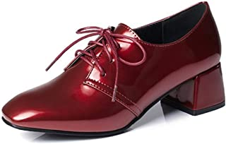 Veveca Women Shoes Patent Leather Square Toe Mid Heel Brogues Dress Oxfords Pumps Lace Up Oxford Loafer