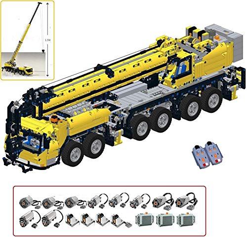 PEXL Technik Kran Mk III Bausteine Bausatz, Technic Mobiler Schwerlastkran mit Fernbedienung und 10 Motoren, 3590 Klemmbausteine Set Kompatibel mit Lego Technic