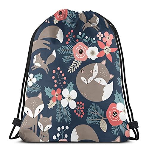 Lindo Fox familia y flores en azul oscuro unisex fútbol natación deportes gimnasio viaje zapatos bolsa mochila mochila plegable para mochila escolar para niños niñas hombres mujeres