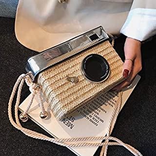 Adebie - 2019 New Fashion Women Summer Camera Shape Messenger Bag Straw Box Crossbody Bag Beach Luxury High Quality Handbag Shoulder Bag Khaki []