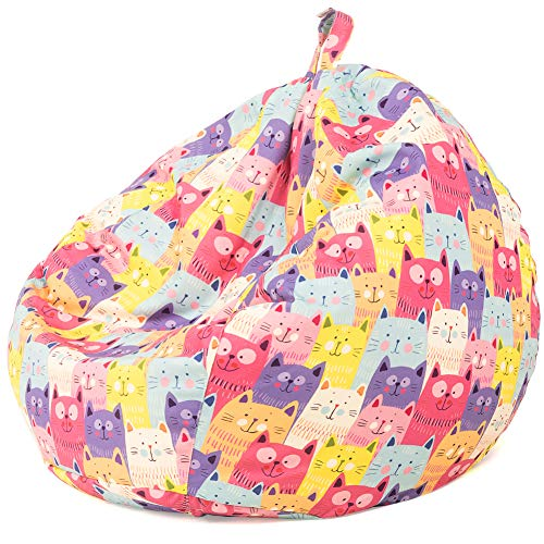 Nobildonna Bean Bag Chair Cover Only for Kids Boys Girls Teens Toddler. Big Beanbag without Filling Storage Stuffed Animal Sofa Sack for Organizing Soft Doll Toy (Colorful Kittens)