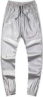 Men's PU Leather Skinny Pants Long Slim Casual Pants (Color : Silver, Size : 30(Waist Elastic))