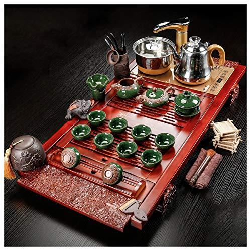 Teiera Tè Vassoio Da Kung Fu Tea Set With Wood Cinese Gongfu Tea Tray Set, Legno Solido Del Tè Vassoio Di Drenaggio Dell acqua Bagagli, Sala Da Tè Tabella Cerimonia Strumenti Insieme Di Tè Scaldabagno