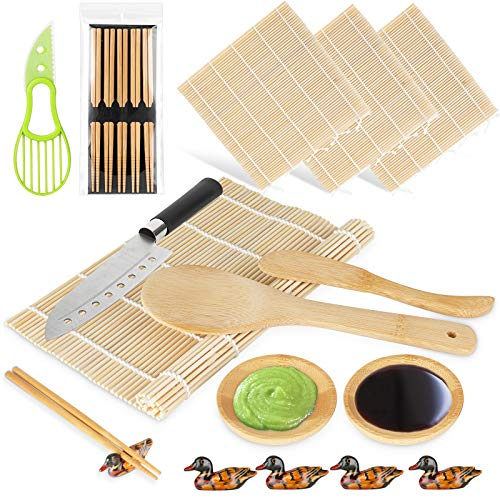 Yarbee Sushi Making Kit, Including 4 Bamboo Sushi Rolling Mats, 5 Pairs of Chopsticks and Chopsticks Holders, 2 Dipping Plates, 1 Avocado Slicer, 1 Paddle, 1 Spreader, 1 Sushi Knife