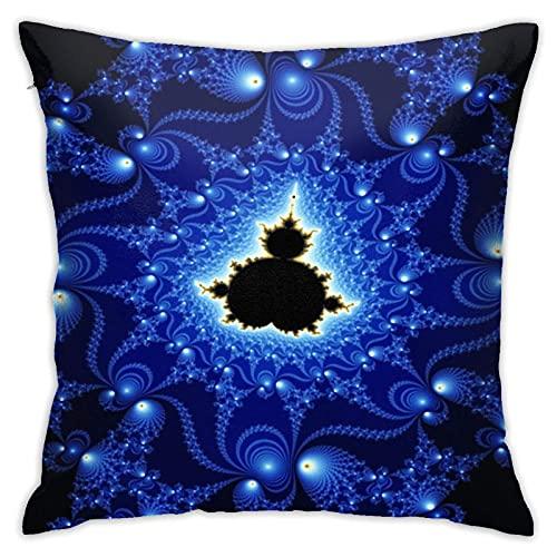 黒と青のマンデルブロフラクタル枕カバー、床枕カバー、枕カバー