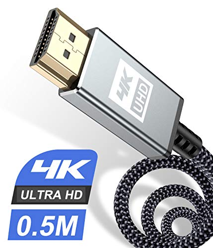 4K HDMI Kabel 0,5Meter,Sweguard HDMI Kabel 4K @ 60Hz 18Gbps Kurz 50cm Highspeed HDMI 2,0 Kabel Vergoldete Anschlüsse mit Ethernet/Audio Rückkanal, Kompatibel mit Video 4K UHD 2160p, HD1080p-Grau