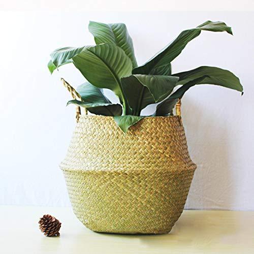 COJJ Natural color middle diameter 32 folding seaweed basket portable plant pot basket flower pot