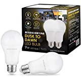 BECCALIGHTING Dusk to Dawn LED Light Bulb Light Sensor with Microwave Sensor 9W E26/E27 Automatic On/Off, Indoor/Outdoor Yard Porch Patio Garage Garden, Warm White, UL Listed, 2-Pack